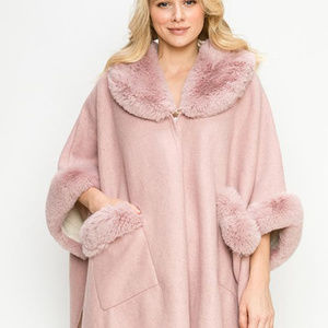 Jackets & Blazers - Faux Fur Trim Cape  Ruana with Pockets